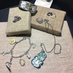 Jewelry - Lot of Silver Jewelry Bracelets Ring Earring Pin